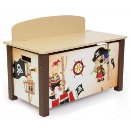 Homestyle4U Dětská truhla na hračky Pirát