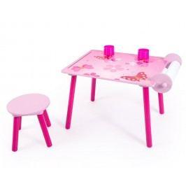 Homestyle4U Dětský stolek se stoličkou Motýlci
