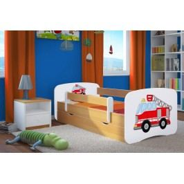 Ourbaby Dětská postel se zábranou Hasičské auto, 140x70 cm