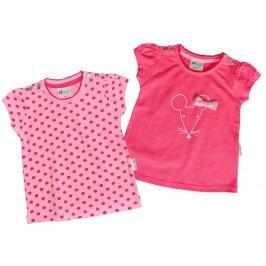 Gelati Dívčí sada 2ks triček s myškou - růžové