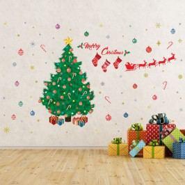Walplus Samolepka na zeď - vánoční stromeček Merry Christmas