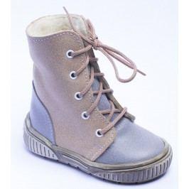 První krůčky Chlapecké zimní boty s tkaničkami - hnědo-šedé