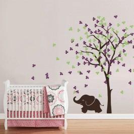 Housedecor Samolepka na zeď Slůně a strom fialovo-zelený