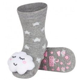 SOXO® Dívčí protiskluzové ponožky s mráčkem - šedé