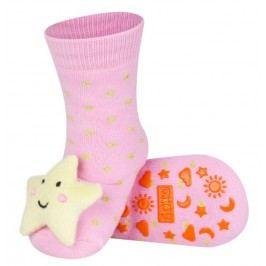 SOXO® Dívčí protiskluzové ponožky s hvězdičkou - růžové