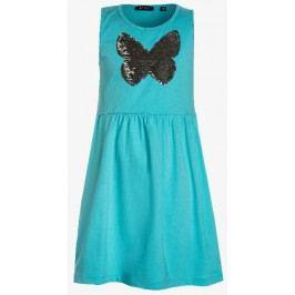 Blue Seven Dívčí šaty s motýlem - tyrkysové