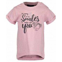Blue Seven Dívčí tričko s nápisem - růžové