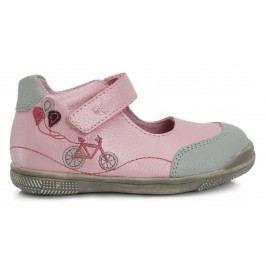 Ponte 20 Dívčí kožené balerínky - růžové