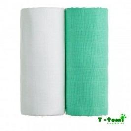 T-tomi Látkové TETRA osušky 100x90, sada 2ks, bílá+zelená