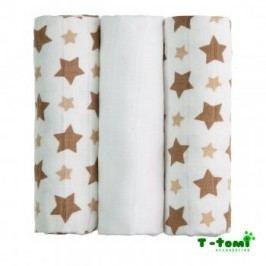 T-tomi Bambusové pleny, sada 3ks, béžové hvězdičky