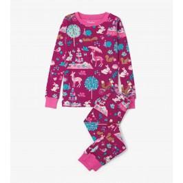 Hatley Dívčí pyžamo zvířátka v lese Woodland Tea Party - růžové