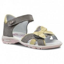 Ren But Dívčí celokožené sandály s mašličkou - šedé