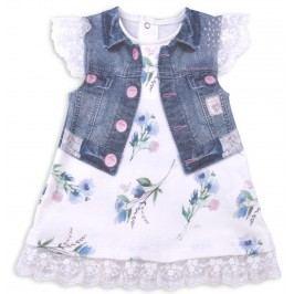 Kitikate Dívčí šaty s 3D designem Ecrin - bílo-modré