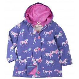 Hatley Dívčí bunda do deště s koníky - fialová