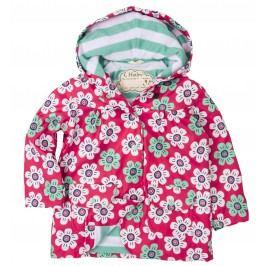 Hatley Dívčí bunda do deště s kytičkami - růžovo-zelená