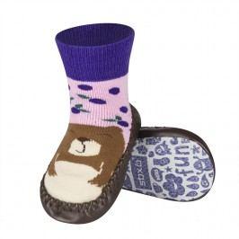 SOXO® Dívčí protiskluzové ponožky  s medvědem - hnědo-růžové