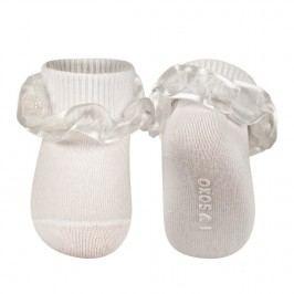 SOXO® Dívčí ponožky s volánky a perličkami - bílé