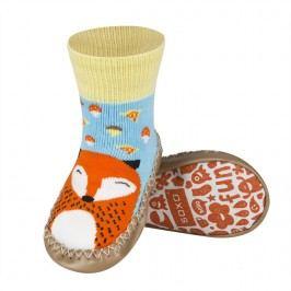 SOXO® Dětské protikluzové ponožky  s liškou - oranžovo -modré