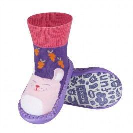 SOXO® Dívčí protiskluzové ponožky  s králíčkem - fialovo-růžové
