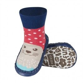 SOXO® Chlapecké protiskluzové ponožky  s tuleněm - modro-hnědé
