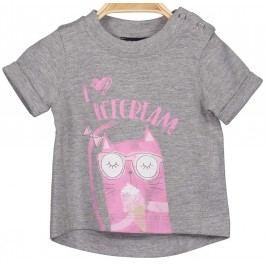 Blue Seven Dívčí tričko s kočikou - šedé