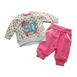 Gelati Dívčí dvojkomplet trika a tepláků - růžový
