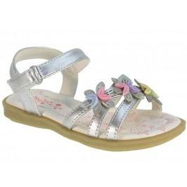 Beppi Dívčí páskové sandály s kytičkami - stříbrné