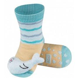 SOXO® Dětské protiskluzové ponožky s tuleňem - tyrkysové