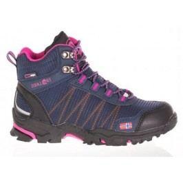 Trollkids Dívčí outdoorová obuv Trolltunga Hiker Mid - modro-růžová