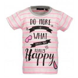 Blue Seven Dívčí pruhované tričko s nápisem - bílo-růžové