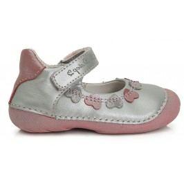 D.D.step Dívčí balerínky se srdíčky - stříbrno-růžové
