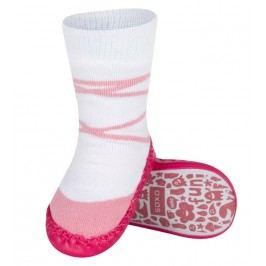 SOXO® Dívčí ponožky s podrážkou Balerínky - růžovo-bílé