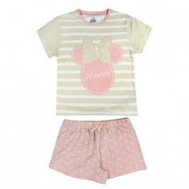 Disney Brand Dívčí set kraťasů a trička Minnie - růžovo-béžový
