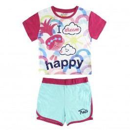Disney Brand Dívčí set kraťasů a trička Trollové - barevný