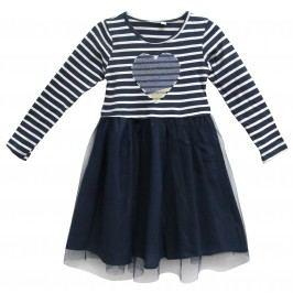 Topo Dívčí šaty se srdíčkem - tmavě modré