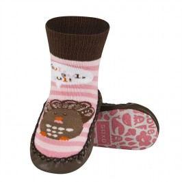 SOXO® Dívčí ponožky s podrážkou Ptáček - růžovo-hnědé
