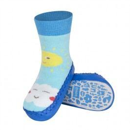 SOXO® Chlapecké ponožky s podrážkou Mráček a sluníčko - modré