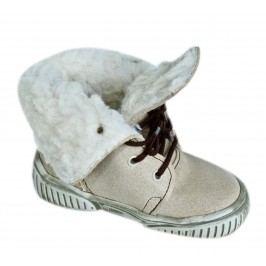 První krůčky Dětské zimní boty s tkaničkami - béžové