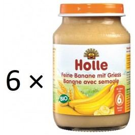 Holle BIO příkrm jemné banány s krupicí 6x190g