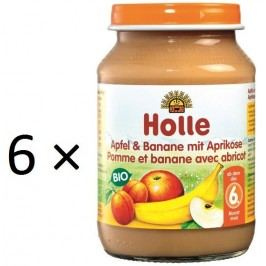 Holle BIO příkrm jablko a banán s meruňkami 6x190g