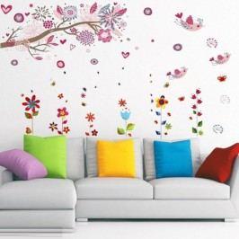 Walplus Samolepky na zeď, kytičky a ptáčci
