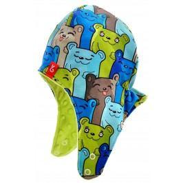 Bexa Chlapecká čepice s barevnými medvědy Minky Gumis - modro-zelená