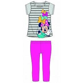 Disney by Arnetta Dívčí set trička a legín Minnie - šedo-růžový