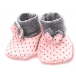 Lafel Dívčí puntíkované ponožky/capáčky Cat - růžové