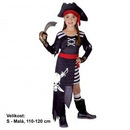 MaDe Kostým na karneval - Pirátka 110 - 120 cm