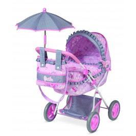 DeCeuvas Toys Kočárek pro panenky hluboký s deštníkem Maria 2017-M