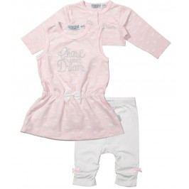 Dirkje Dívčí trojkomplet s obláčky - růžovo-bílý
