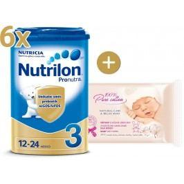 Nutrilon 3 Pronutra - 6×800g + vlhčené ubrousky Onclé Bio šípkový olej