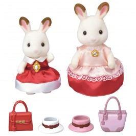 Sylvanian Families Město - chocolate 2 králičí kamarádky v elegantních šatech