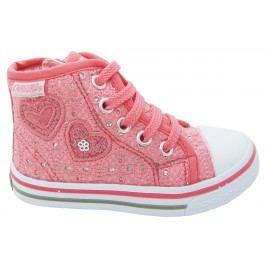 Canguro Dívčí kotníkové tenisky se srdíčky - růžové